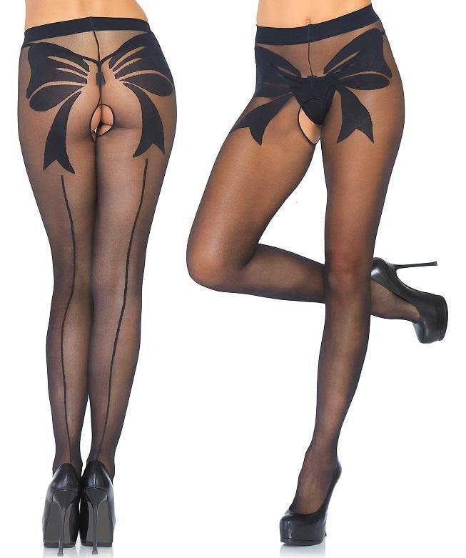 Sheer Black Back Seam Crotchless Tights with Bow Detail - Amore Lingerie
