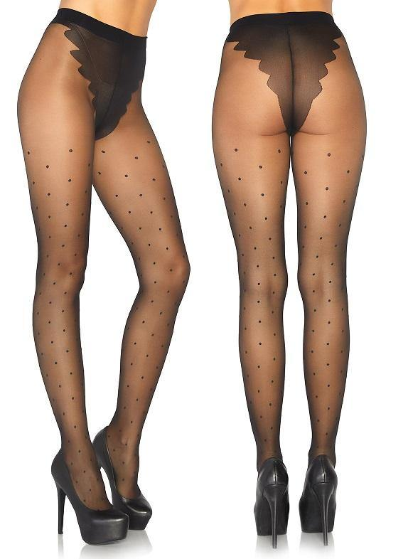 Sheer Black French Cut Polka Dot Tights - Amore Lingerie