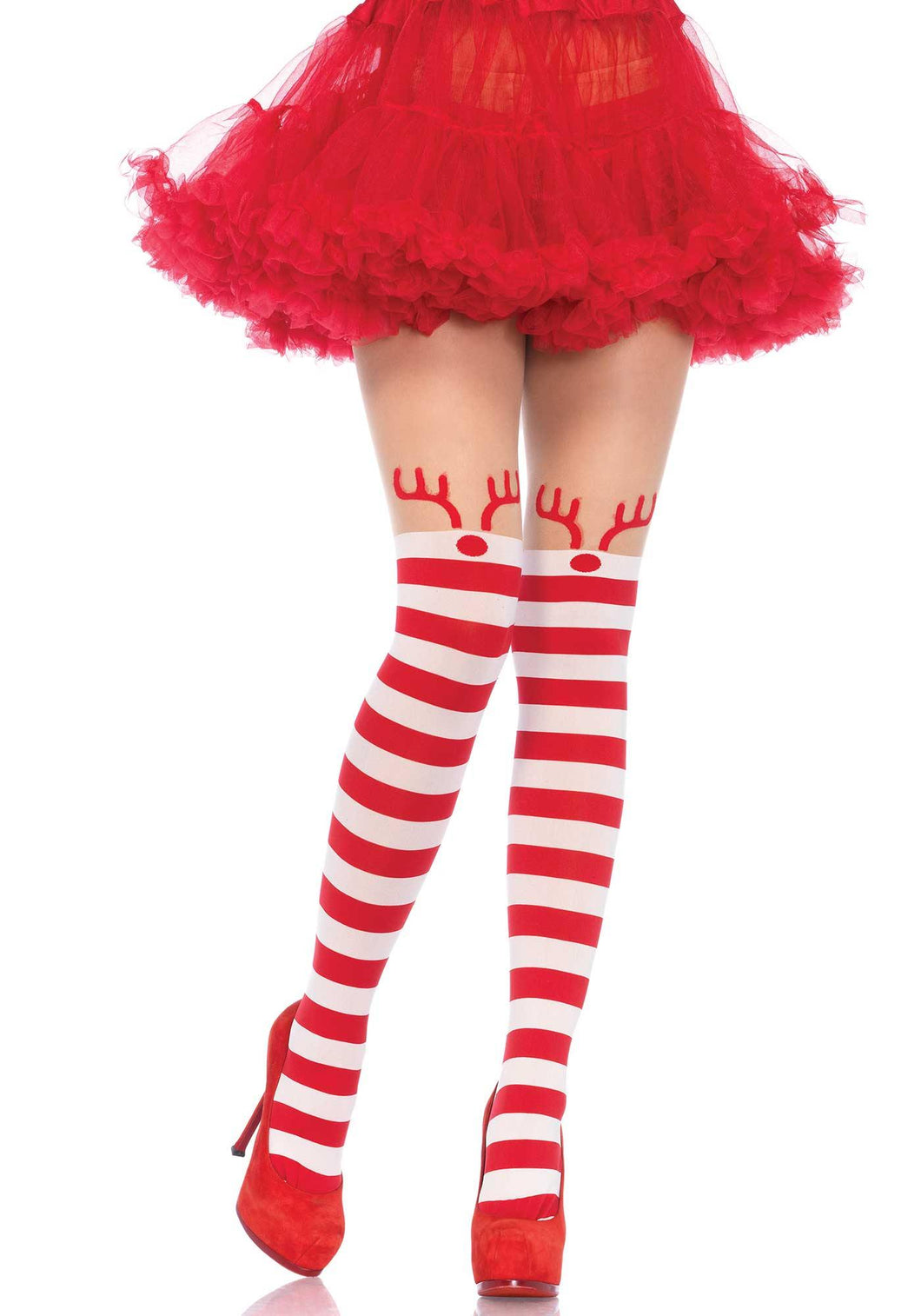 Red and White Rudolph Reindeer Christmas Tights - Amore Lingerie
