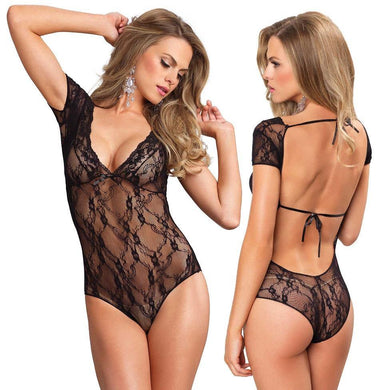 Lace Backless Deep-V Cap Sleeve Teddy Bodysuit - Amore Lingerie