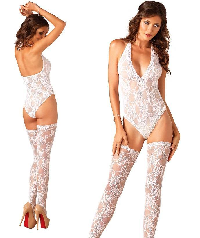 White Floral Lace Deep-V Teddy and Stockings - Amore Lingerie