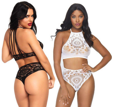 Crochet Strappy Lace Top and High Waist String Set - Amore Lingerie