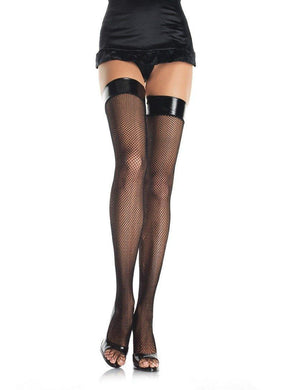 Black Fishnet Vinyl Top Thigh Highs - Amore Lingerie