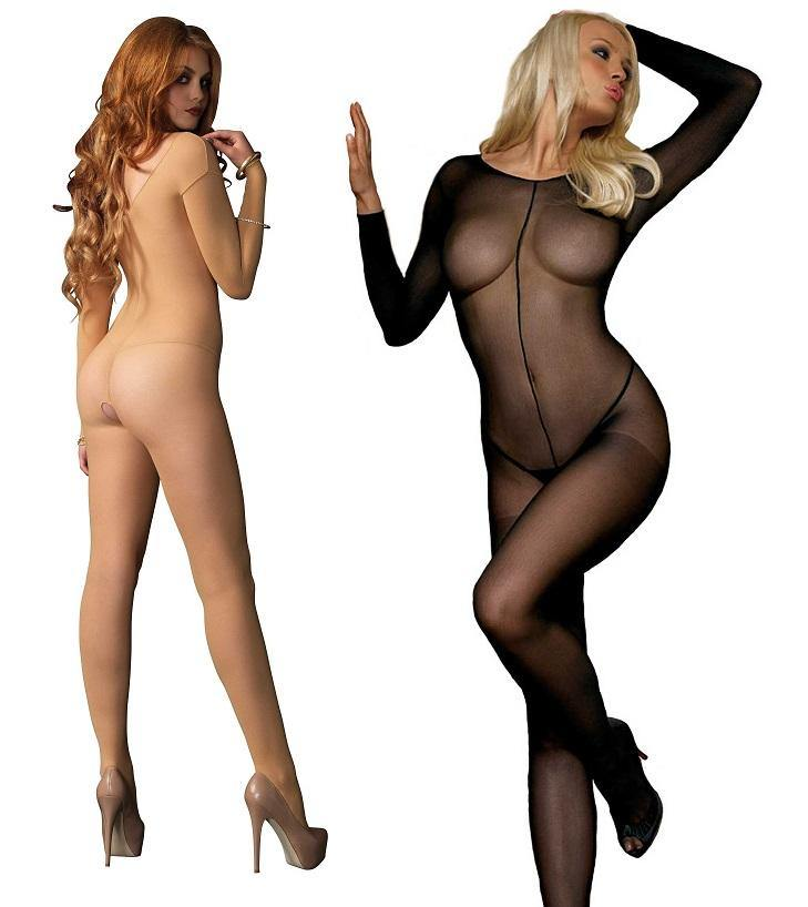 Sheer Long Sleeve Scoop Neck Bodystocking - Amore Lingerie
