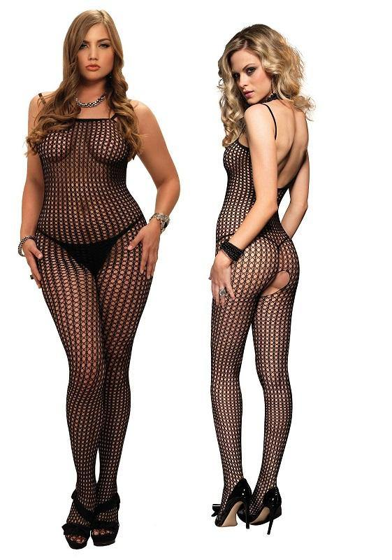Black Crochet Crotchless Spaghetti Strap Bodystocking - Amore Lingerie