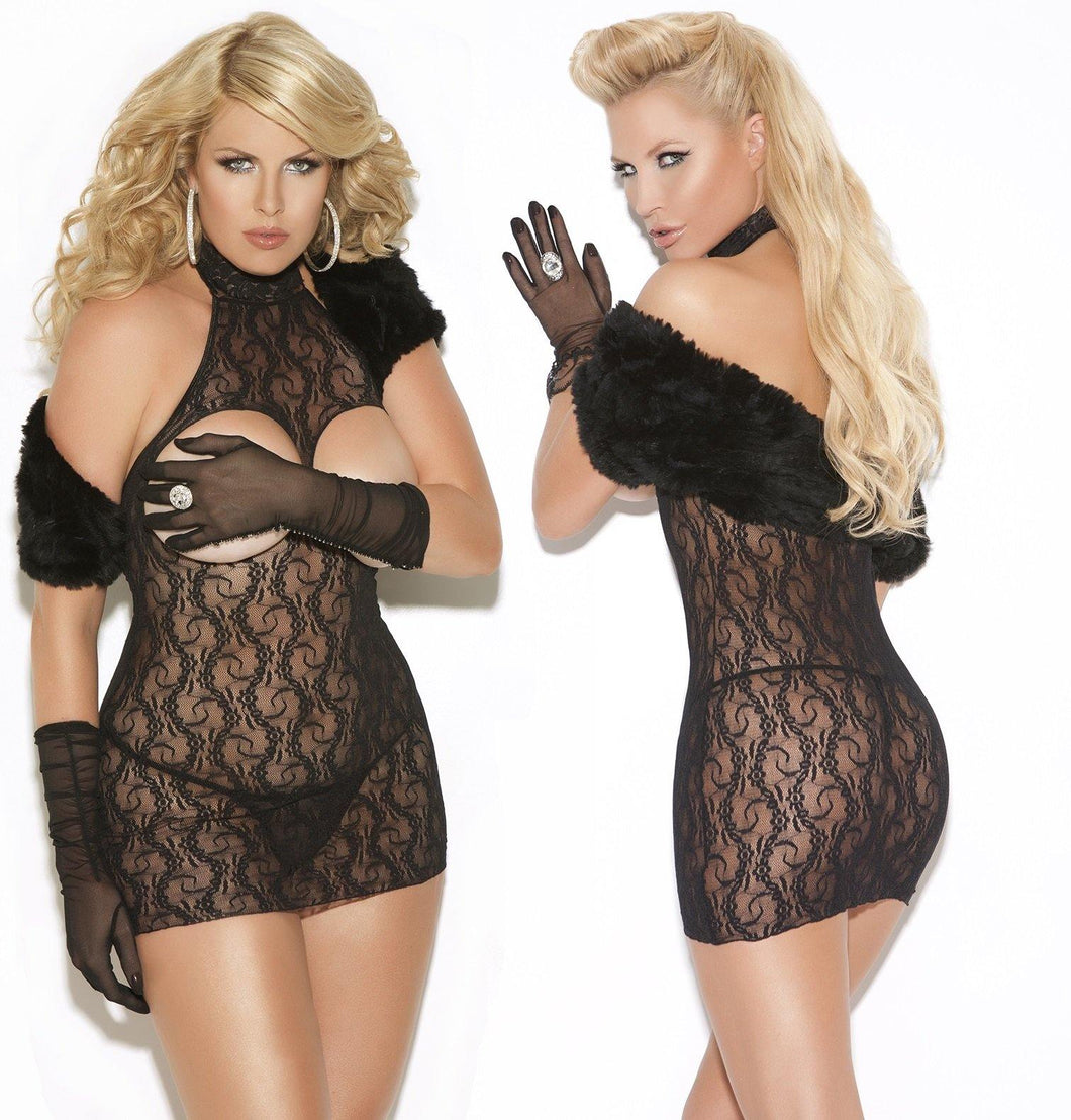 Black Cupless Floral Lace Mini Dress - Amore Lingerie