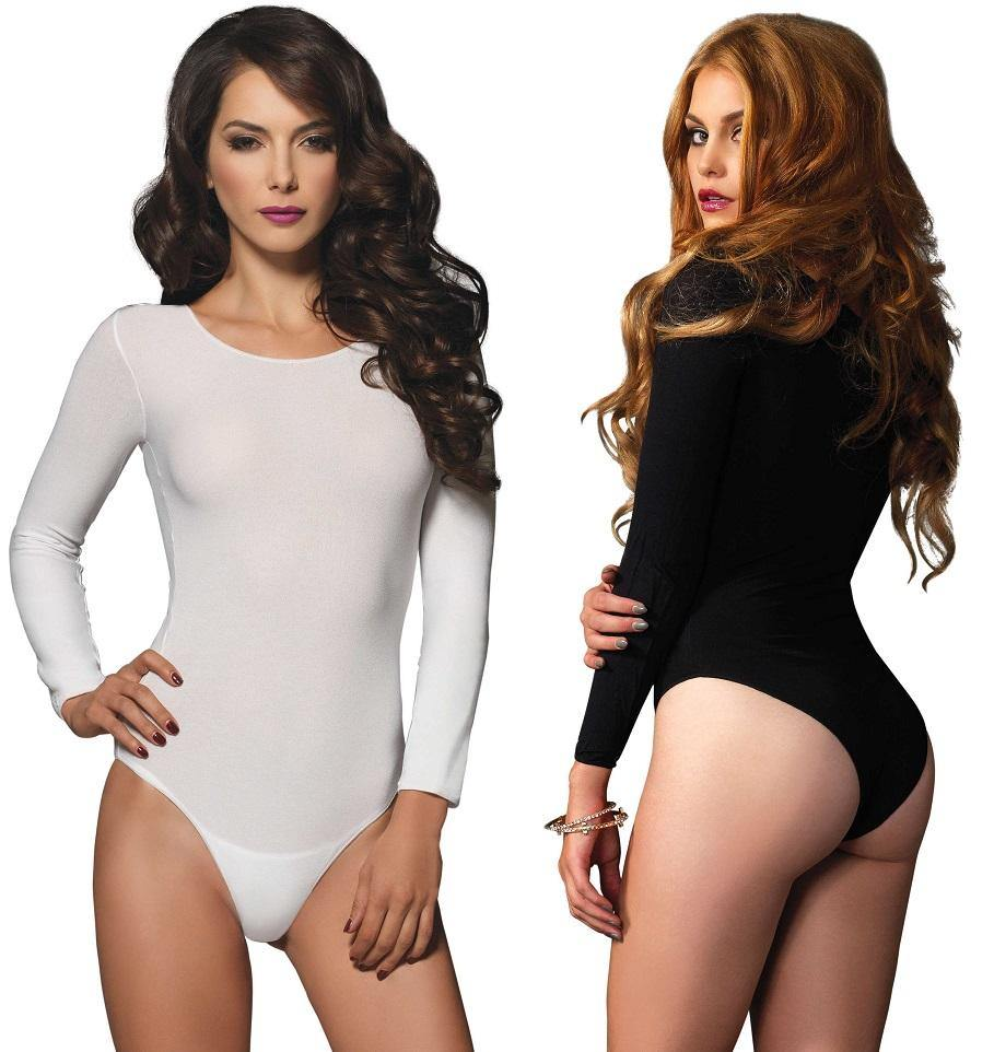 Opaque Long Sleeve Bodysuit - Amore Lingerie