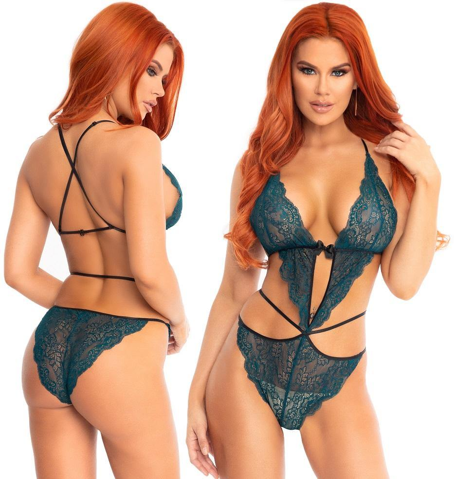 Teal Scalloped Lace Brazilian Panty Teddy - Amore Lingerie