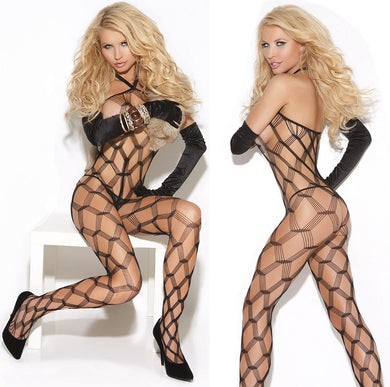 Black Diamond Whale Net Bodystocking - Amore Lingerie