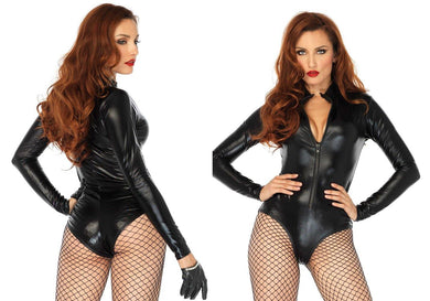 Black Wetlook High Neck Zipper Front Bodysuit - Amore Lingerie
