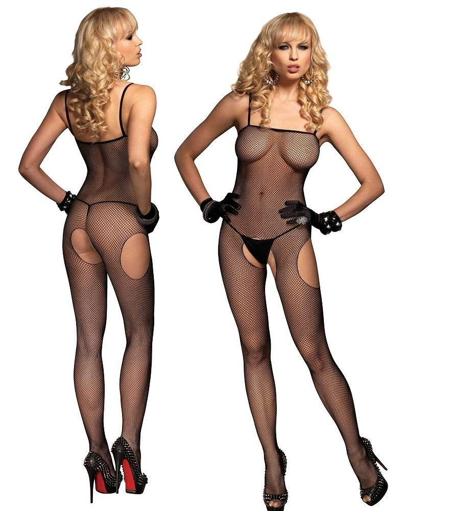 Black Fishnet Suspender Crotchless Bodystocking - Amore Lingerie