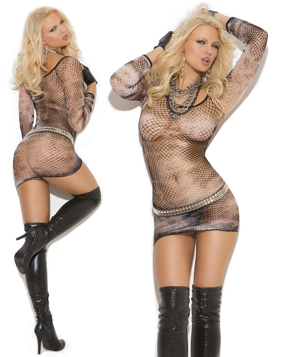 Black/White Tie Dye Diamond Net Long Sleeve Dress - Amore Lingerie
