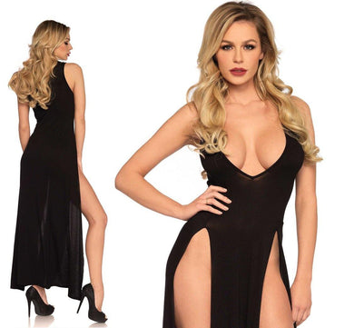 Black Deep-V High Dual Slit Maxi Dress - Amore Lingerie