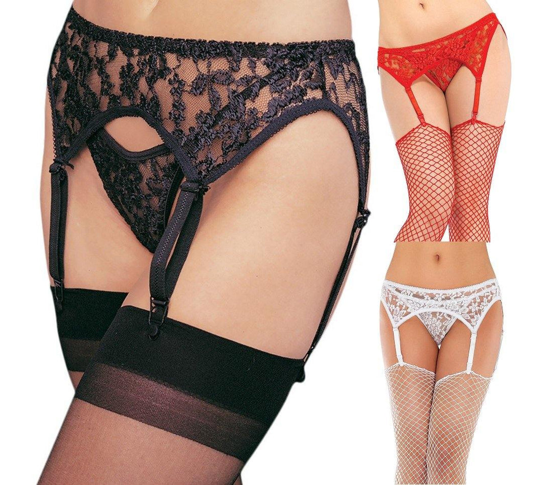 Lace Suspender Belt and G-String Set - Amore Lingerie