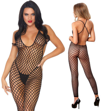 Black Crochet Footless Low Back Bodystocking - Amore Lingerie