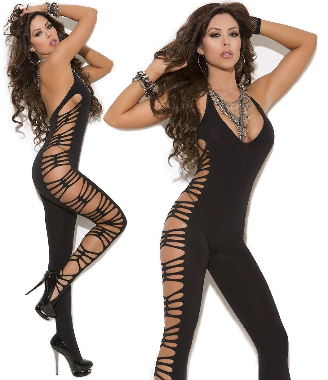 Black Deep V Side Cut Out Crotchless Bodystocking - Amore Lingerie