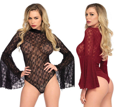 Lace Retro Bell Sleeve Teddy Bodysuit - Amore Lingerie
