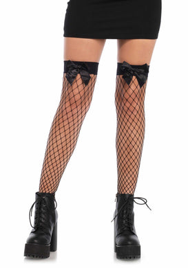 Fence Net Thigh High Stockings Bow Top - Amore Lingerie