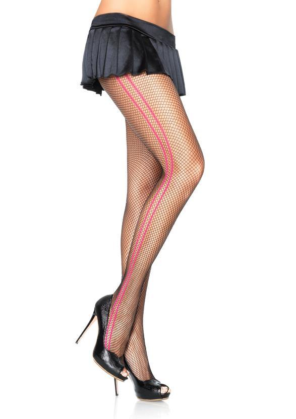 Black Fishnet Fashion Tights Woven Pink Side Stripes - Amore Lingerie