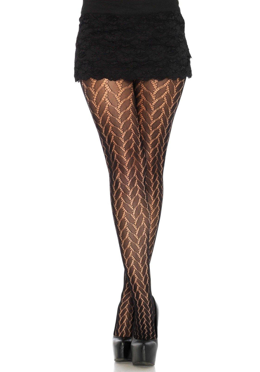 Black Plaited Lace Fashion Tights - Amore Lingerie