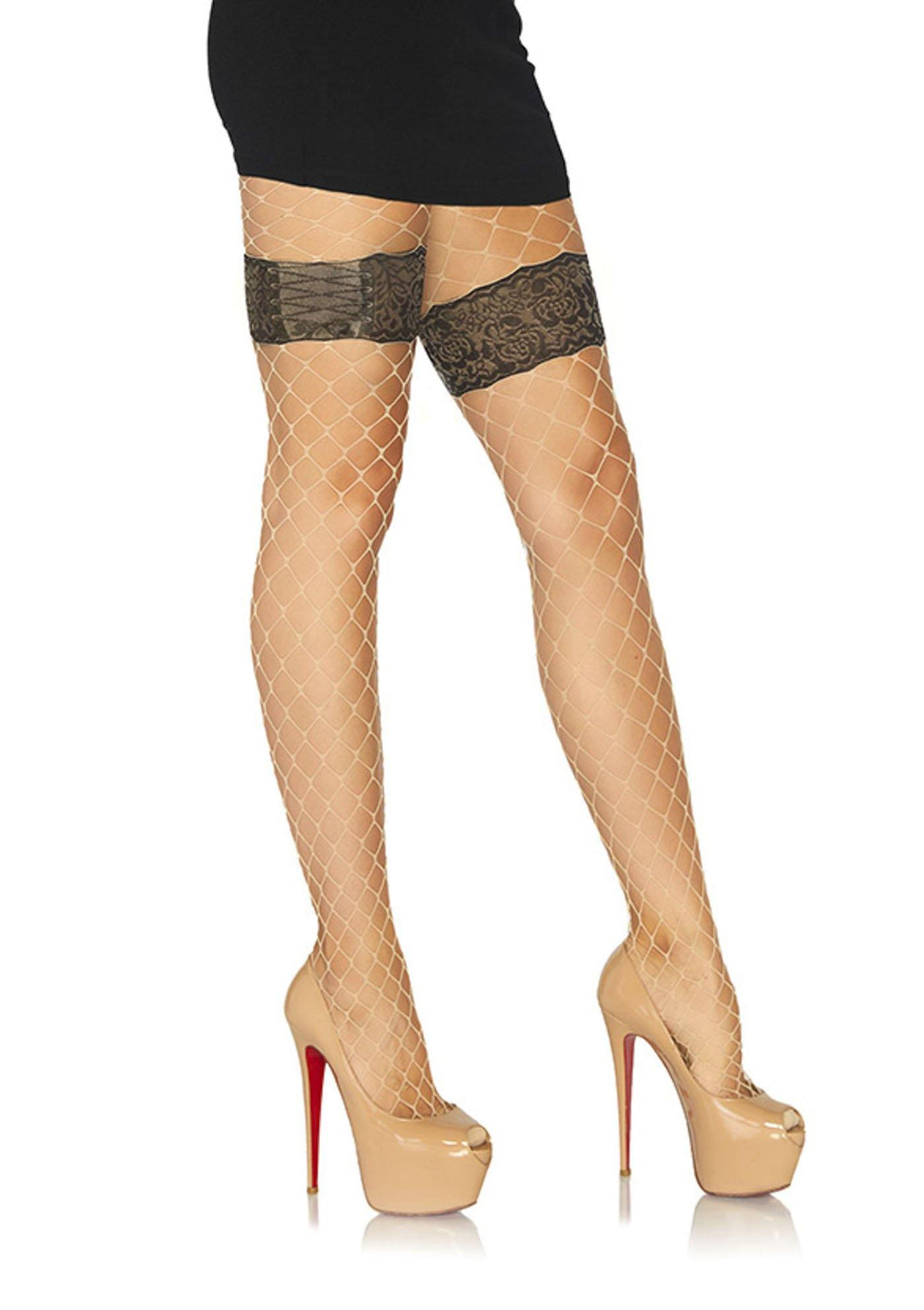 Diamond Net Fishnet Tights Faux Thigh Garter - Amore Lingerie