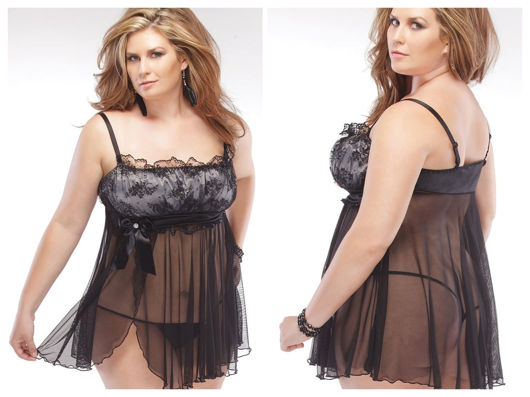 Lace Over Satin Mesh Side Slit Babydoll and G-String