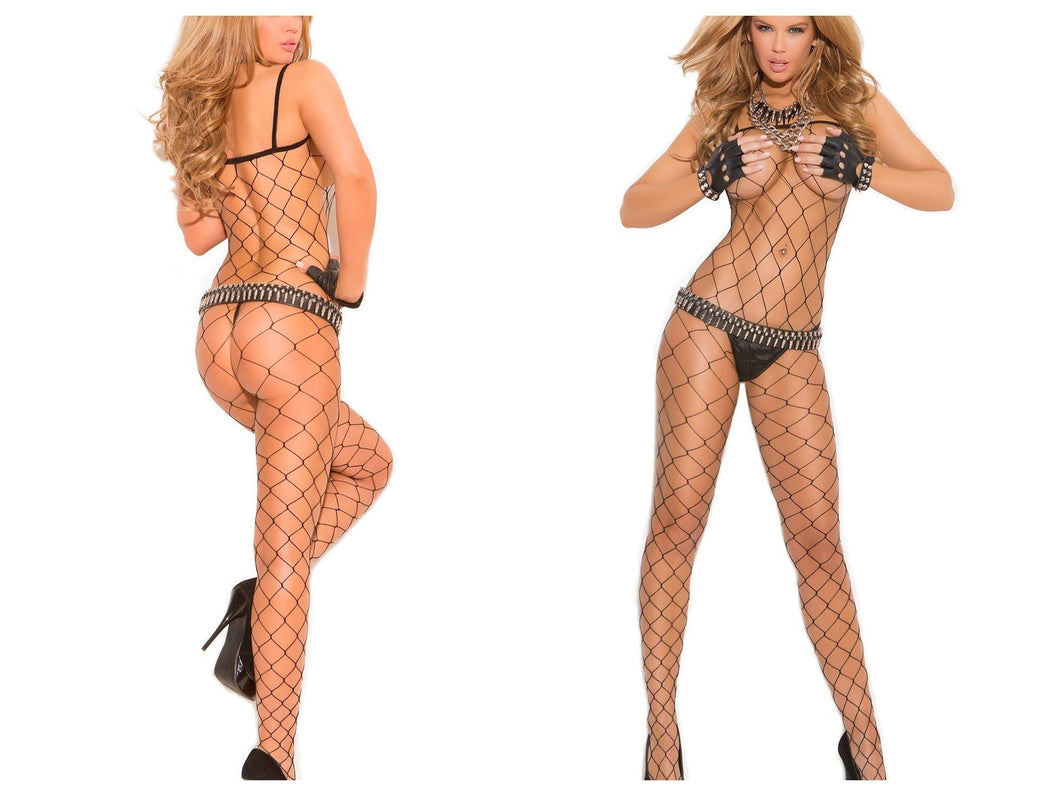 Black Diamond Net Crotchless Bodystocking - Amore Lingerie