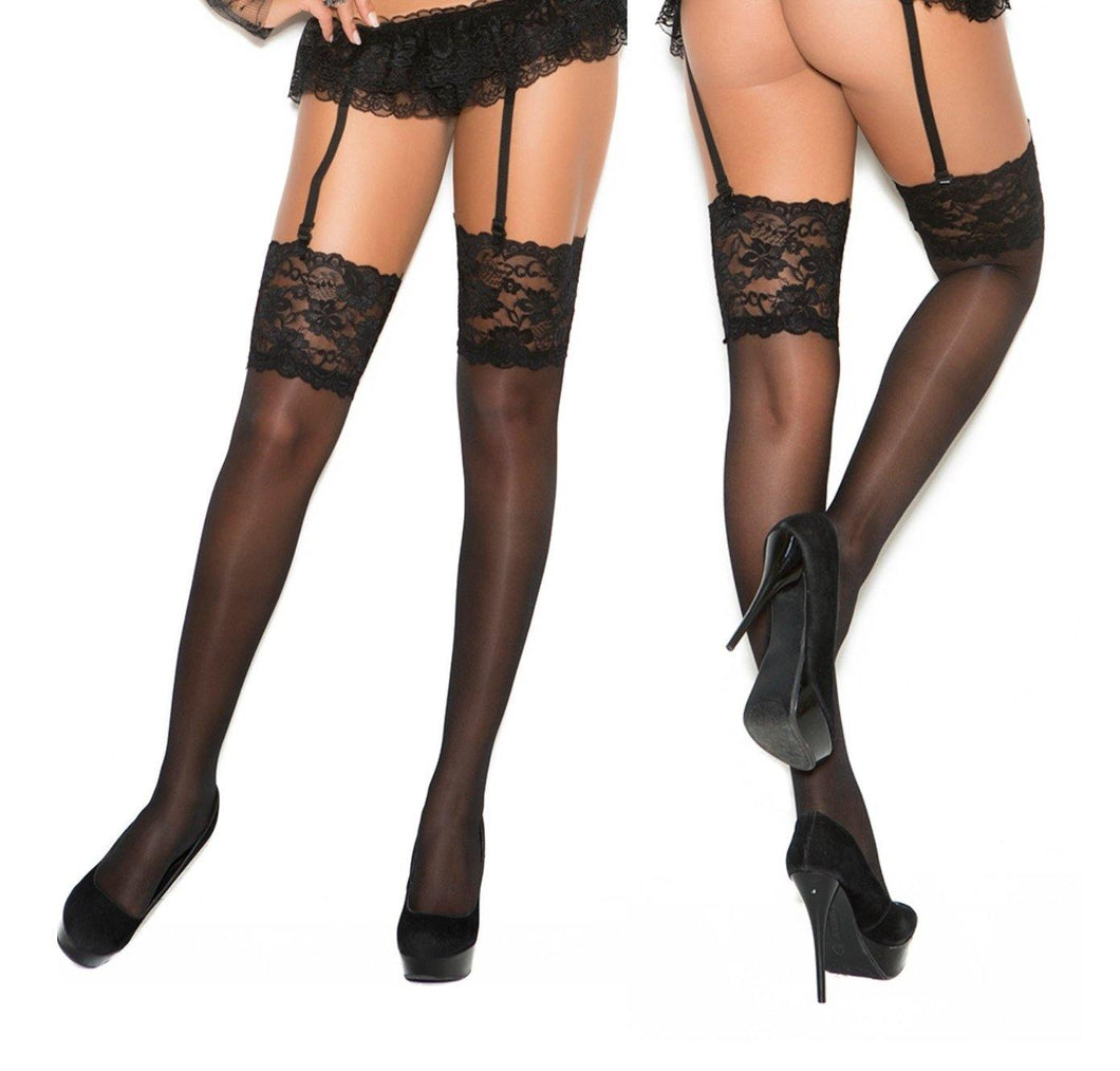 Sheer Thigh High with 5 Inch Lace Top - Amore Lingerie