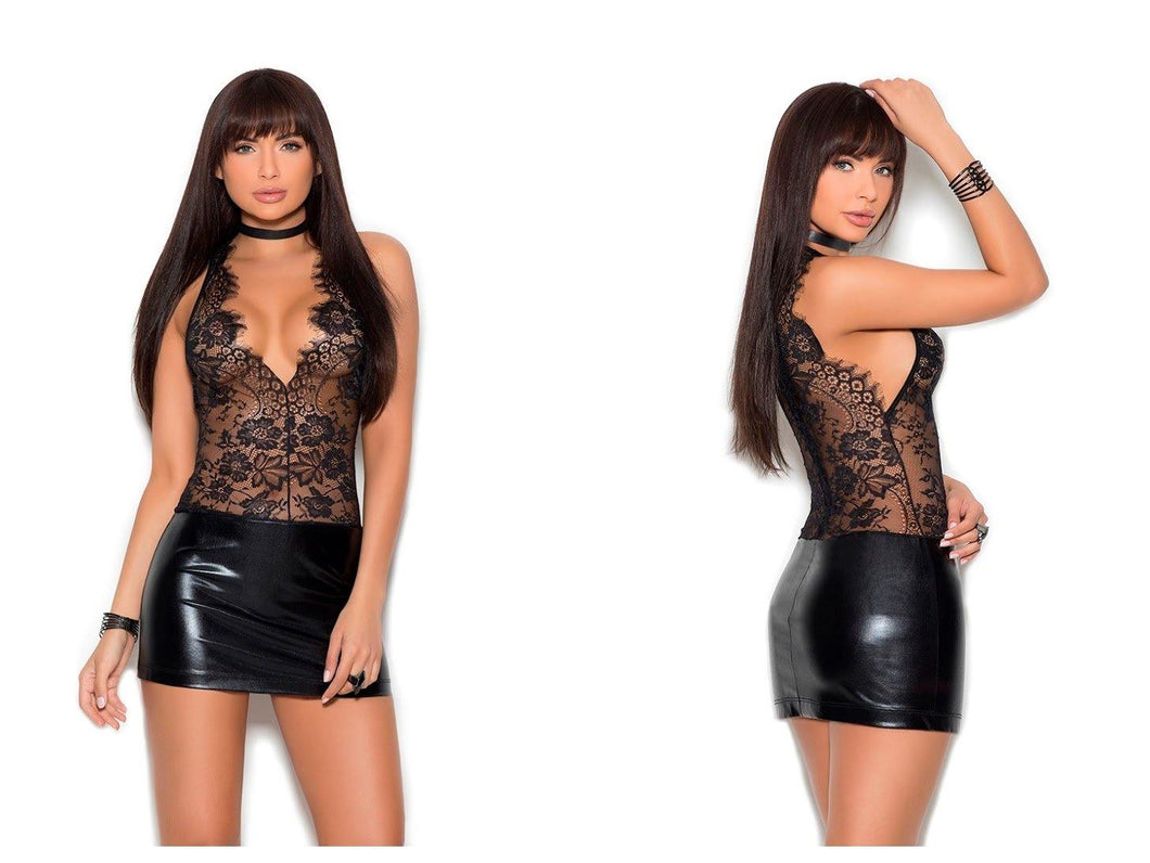 Black Eyelash Lace V-Neck Mini Dress with Wetlook Bottom-Half - Amore Lingerie