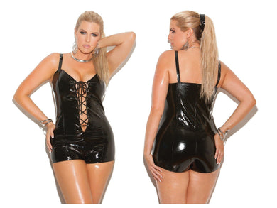 Black Lace Up Front Vinyl Romper Teddy Bodysuit - Amore Lingerie