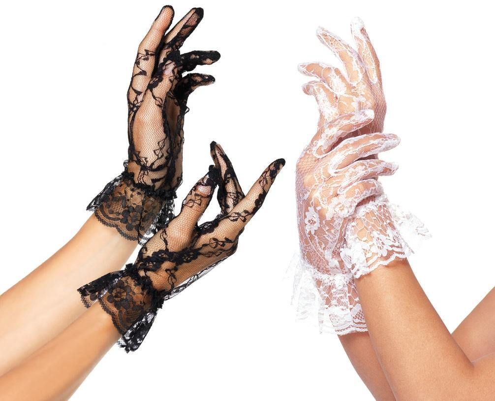 Wrist-Length Ruffle Lace Gloves - Amore Lingerie