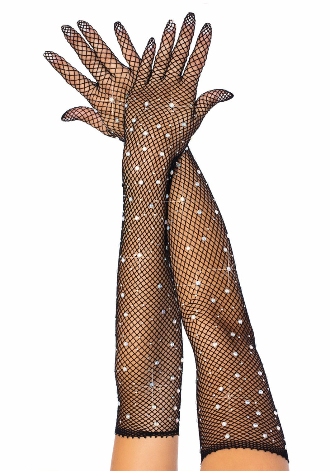Rhinestone Fishnet Opera-Length Gloves - Amore Lingerie