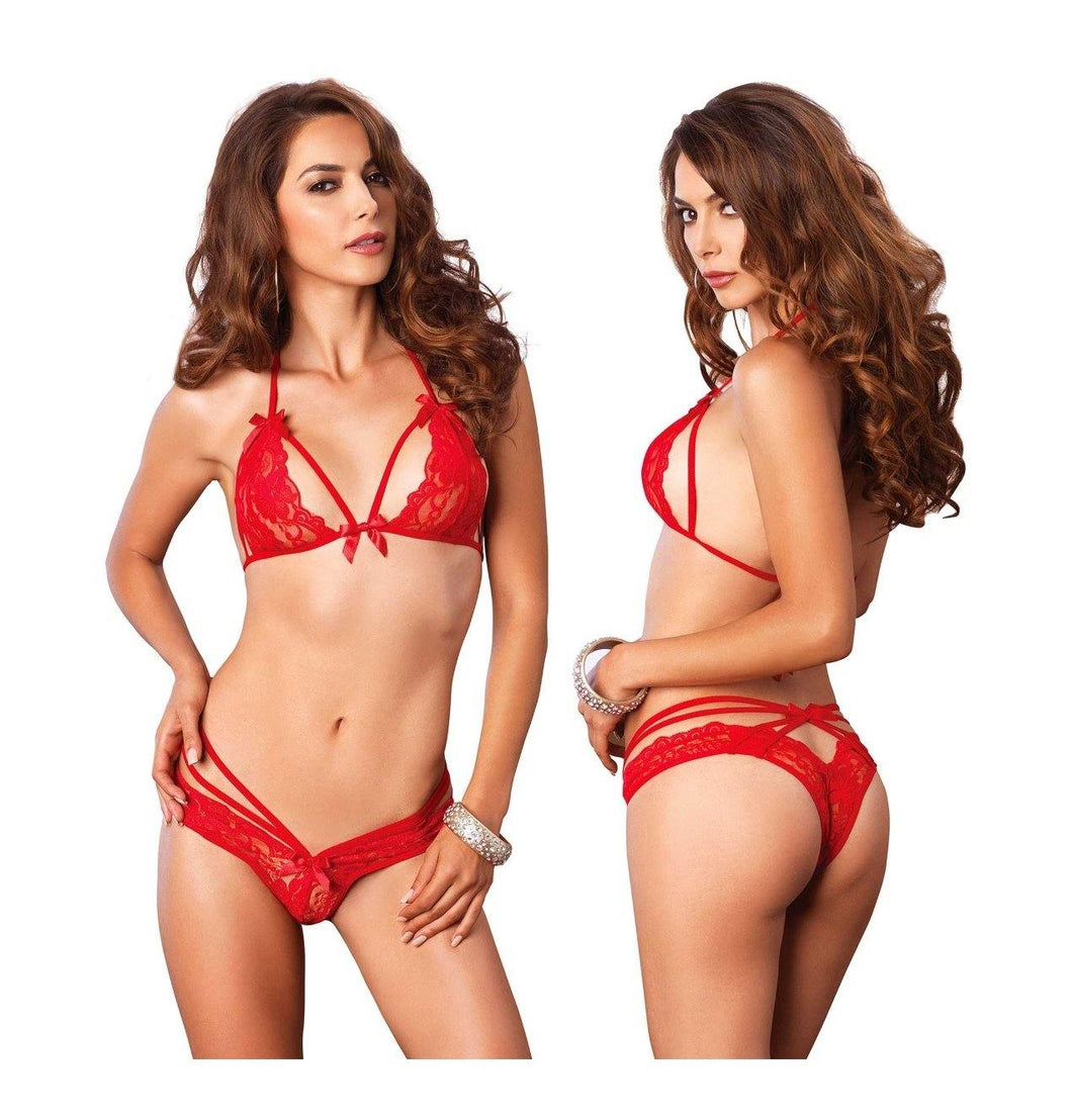 Red Strappy Lace Halter Bra and Brazilian Panty Set - Amore Lingerie