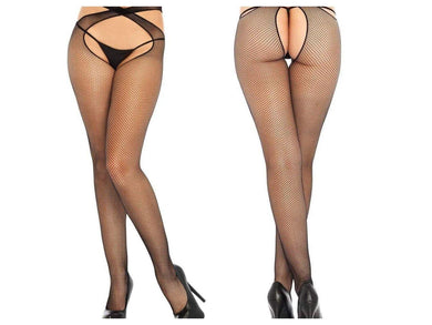 Black Wrap Around Micro Net Tights - Amore Lingerie