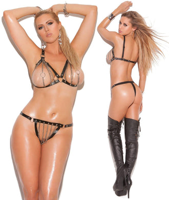 Black Leather Trim Chain Bra and Thong Set - Amore Lingerie