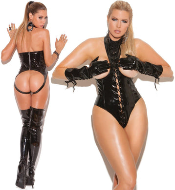 Black Vinyl Cupless Teddy Lace Up Front Open Back - Amore Lingerie