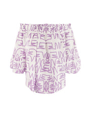 MARK FAST Women MF Graffiti Pattern Off-Shoulder Wide Sleeve Blouse