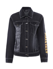 MARK FAST Women Black Button Up Washed Demin Jacket