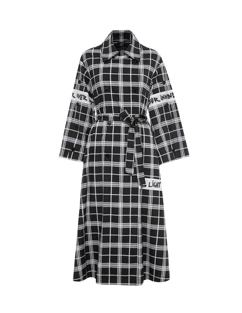 MARK FAST Women Plaid Pattern Lap Tie Belt Trench Coat
