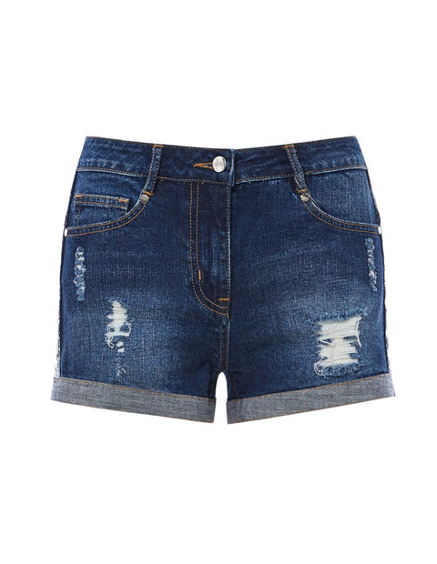 MARK FAST Women Distressed Destroyed Washed Denim Shorts