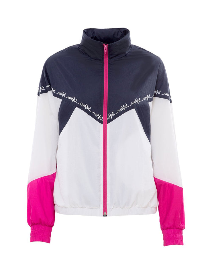 MARK FAST Women Contrast Color Zip Up High Neck Sport Jacket
