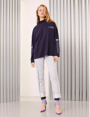 MARK FAST Women MF Monogram Cotton High Neck Long Sleeve T-Shirt
