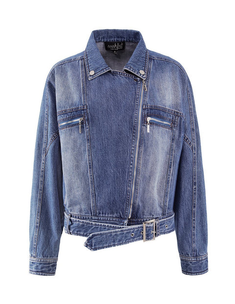 MARK FAST Women Washed Denim Zip Up Biker Jacket