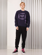 MARK FAST Men Embroidered Logo Monster Crew Neck Long Sleeve Sweatshirt