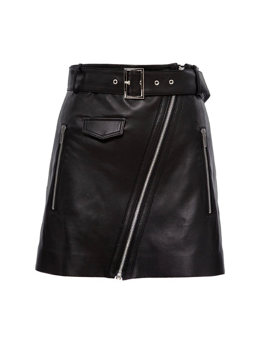Classic black leather skirt (5561338626208)