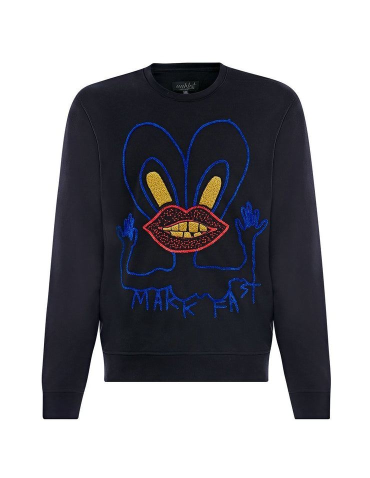 MARK FAST Men MF Blue Little Monster Long Sleeve Sweatshirt