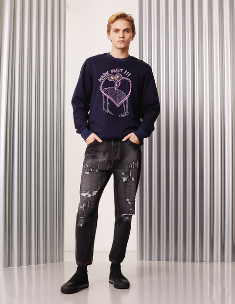 MARK FAST Men MF Passion Flamingo Crew Neck Long Sleeve Sweatshirt
