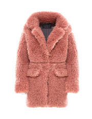 MARK FAST Women Furry Teddy Faux Fur Lapel Oversize Coat