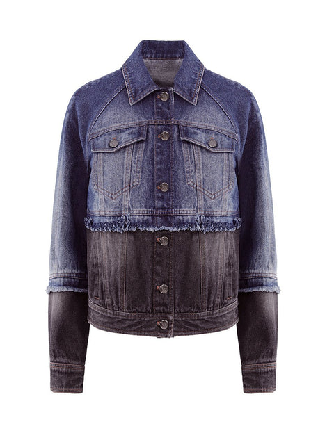 MARK FAST Women Raw Edge Raglan Sleeves Color Patch Denim Jacket