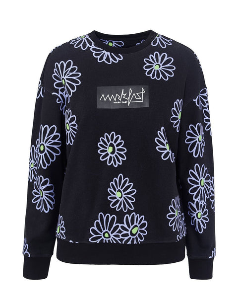 MARK FAST Women Little Violet Pattern Crew Neck Sweatshirt